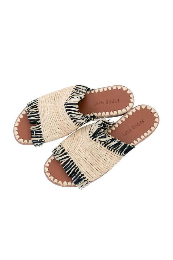 Raffia Fringe Slide - Natural/Black