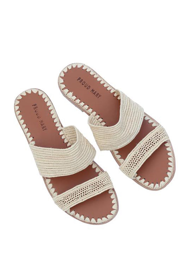 Raffia Two-Strap Slide - Natural