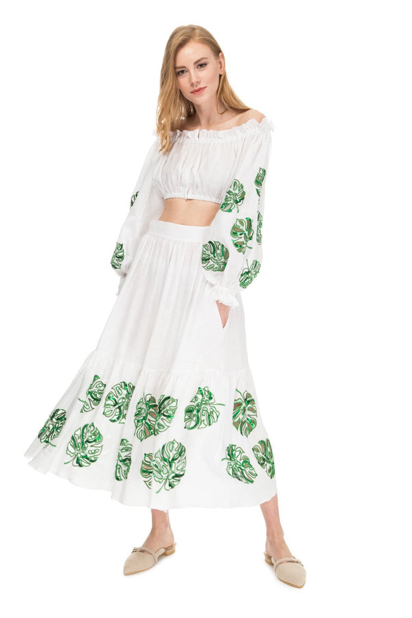 Bora Bora Embroidered Linen Top with Skirt