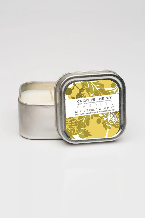Creative Energy Lotion Candles - 2 in 1 Citrus Basil & Wild Mint Soy Lotion Candle 3.5oz Travel Tin