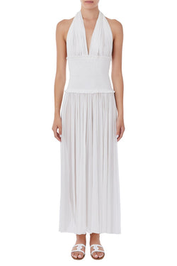 Tyche Silk-Tulle Jumpsuit - White
