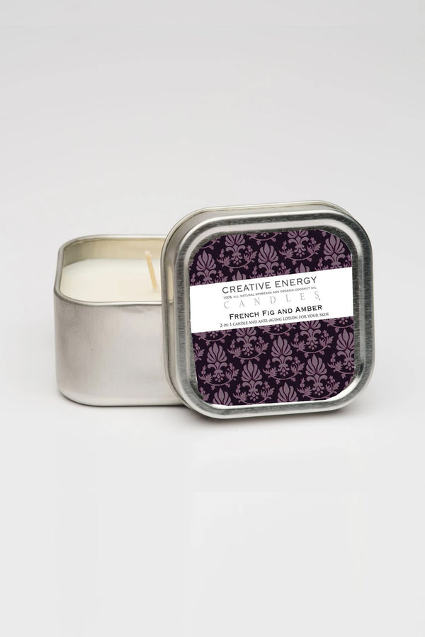 Creative Energy Candles - 2 in 1 French Fig & Amber Soy Lotion Candle 3.5oz Travel Tin
