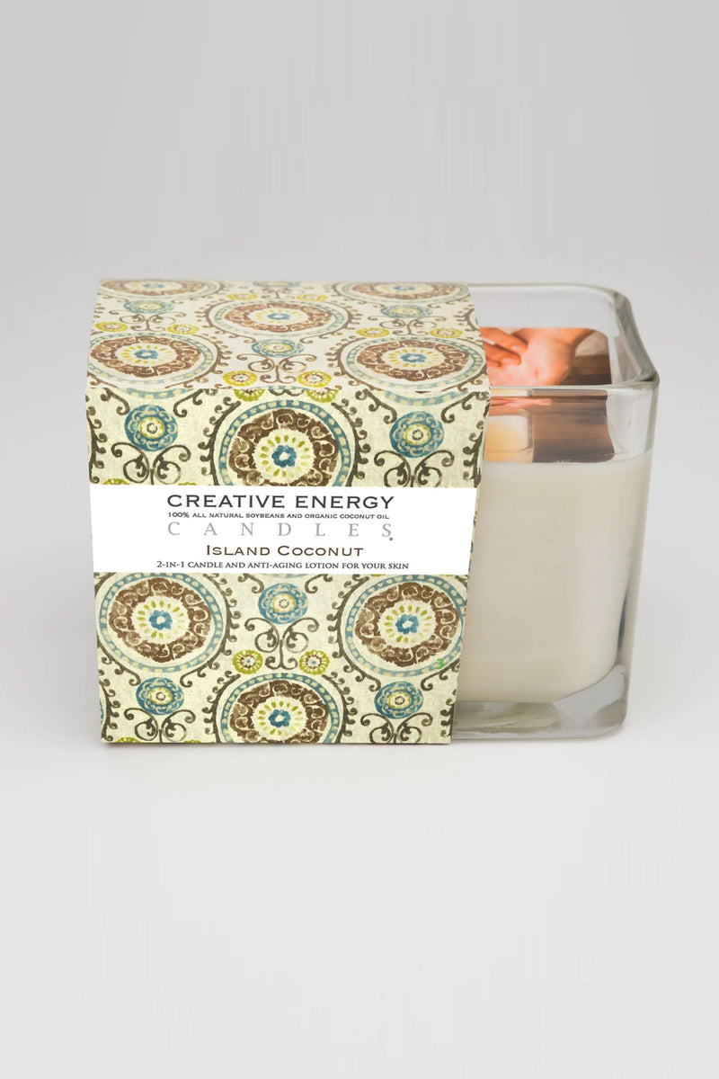Creative Energy Candles - 2 in 1 Island Coconut Soy Lotion Candle 7oz Glass
