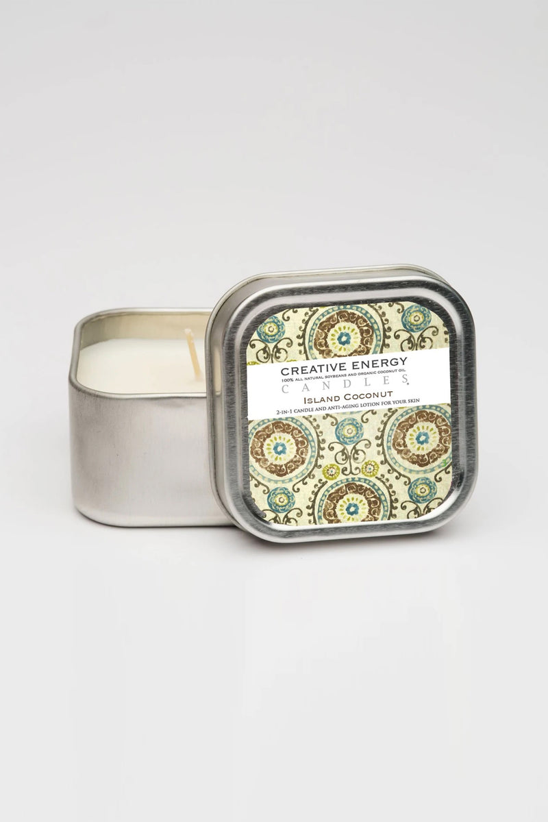 Creative Energy Candles - 2 in 1 Island Coconut Soy Lotion Candle 3.5oz Travel Tin