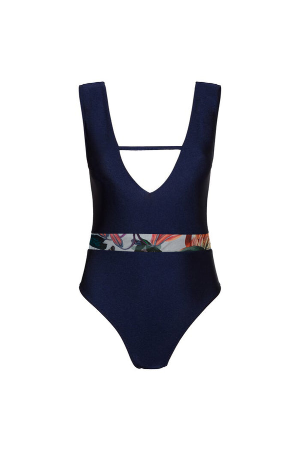 Jerry One Piece - Deep Blue/Floral