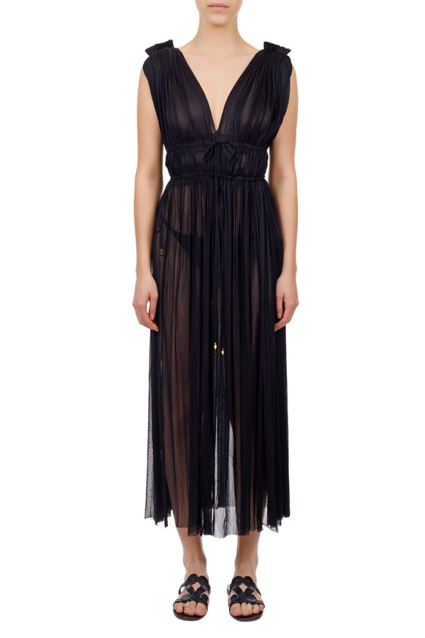 Vereniki Silk-Tulle Dress - Black