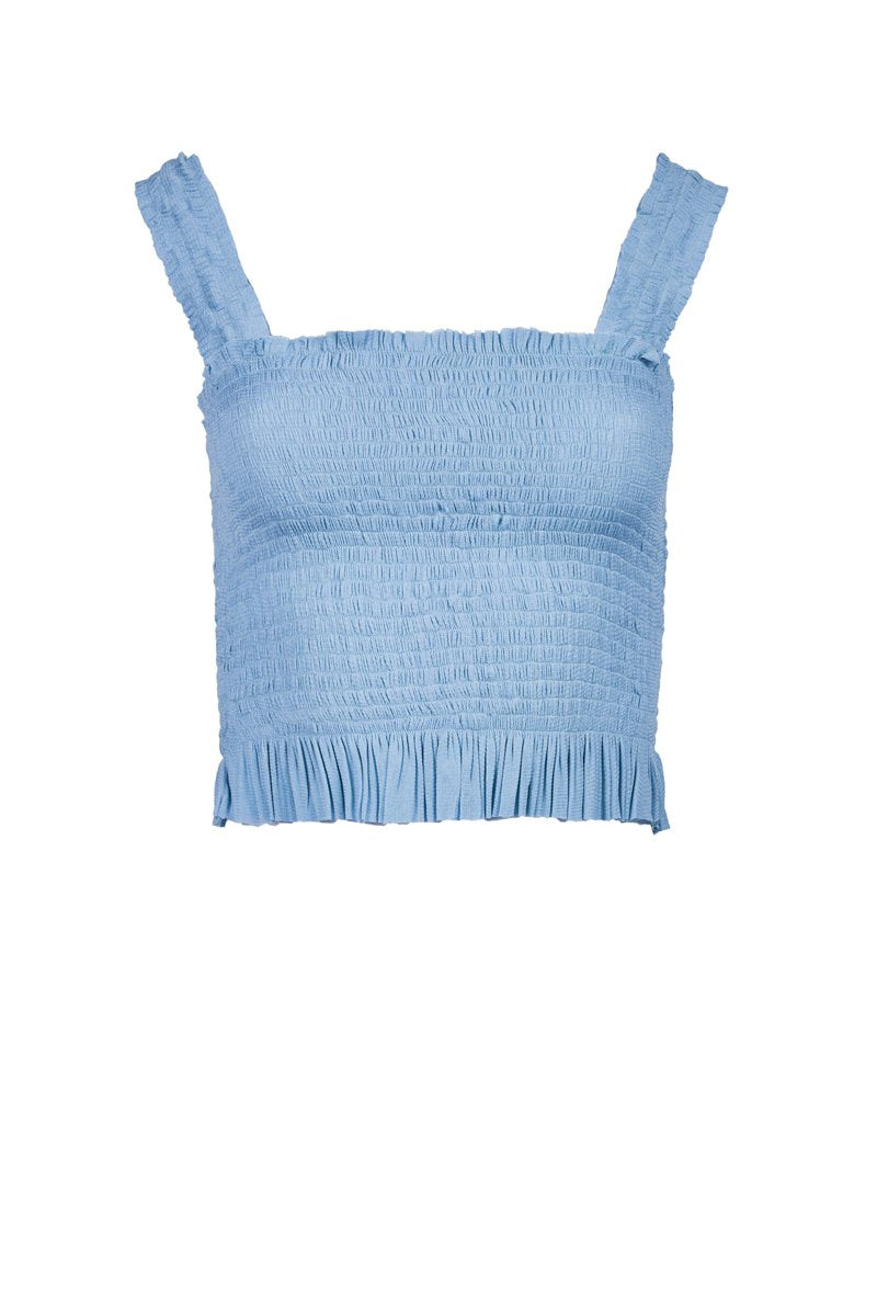 Eugenia Silk-Tulle Top - Light Blue