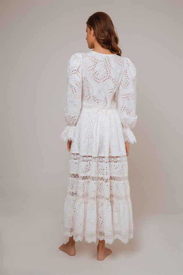 Perla Cotton Embroidered Dress - White