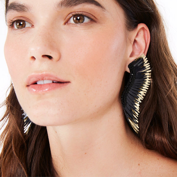 Madeline Earrings - Black/Gold