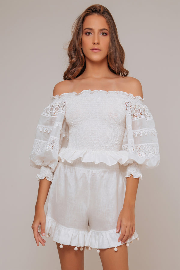 Morena Cotton Lace Top - White