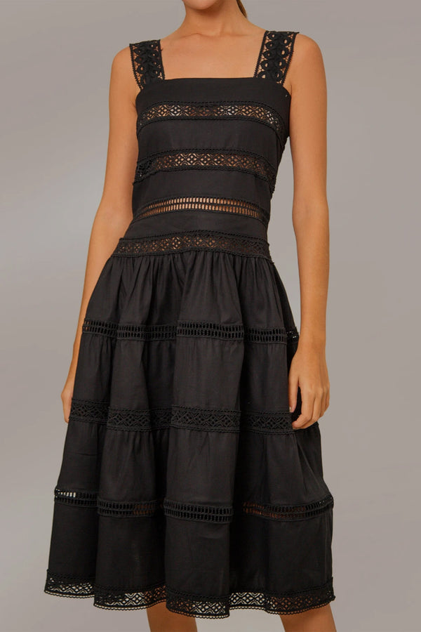 Maya Embroidered Dress With Lace Detail - Black