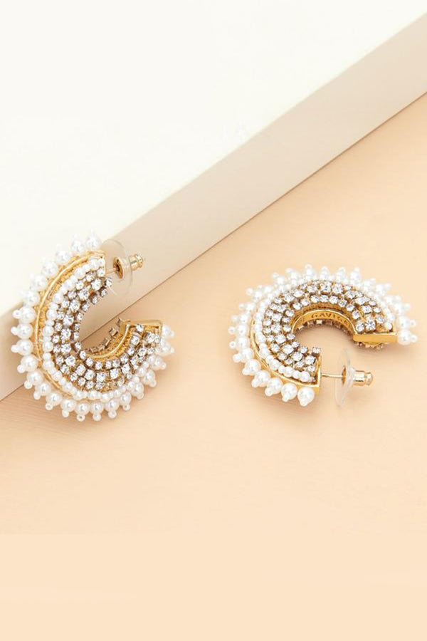 Mini Fiona Pearl Hoop Earrings - White