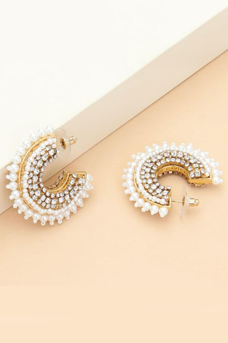 Mini Fiona Pearl Hoops - White