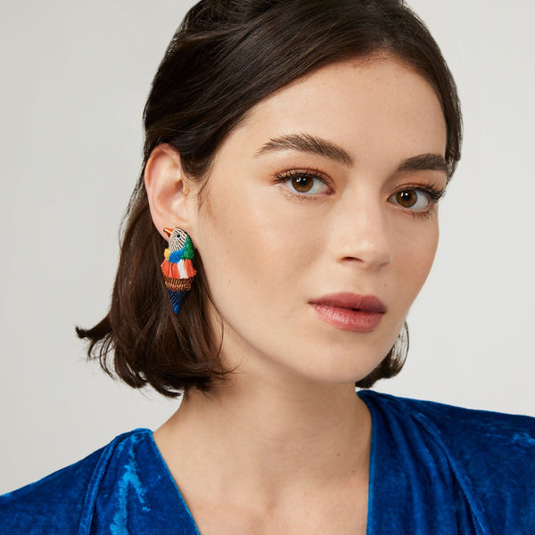 Finch Bird Earrings - Coral