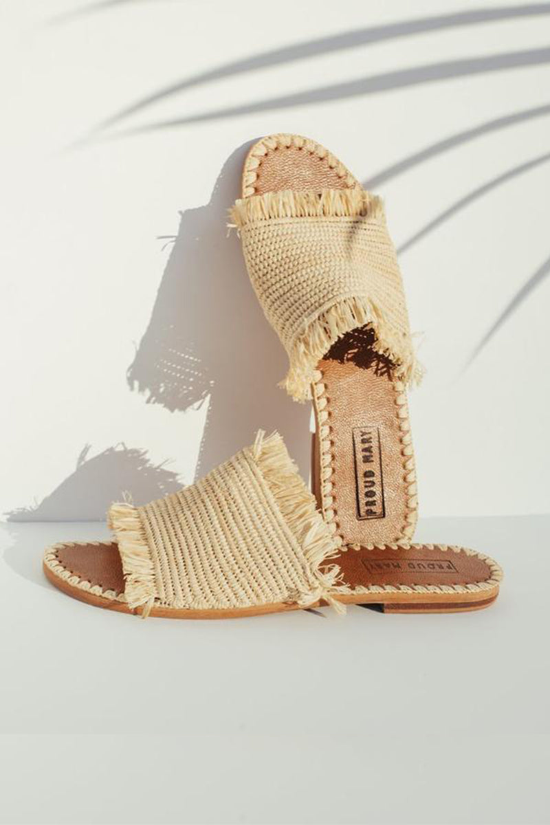 Raffia Fringe Slide - Natural