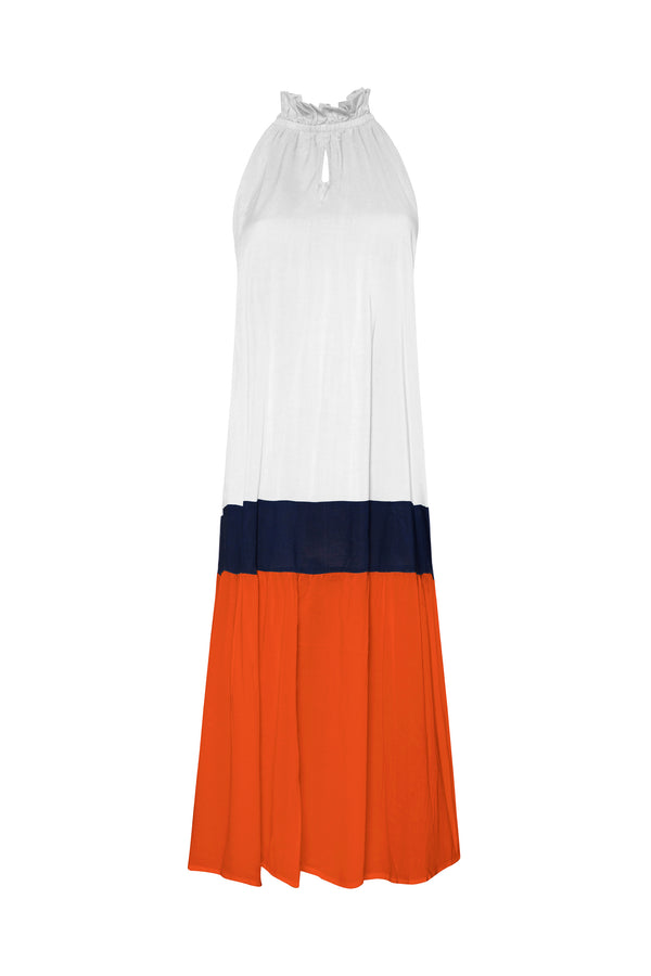 Nevis Dress - White/Deep Blue/Sunset