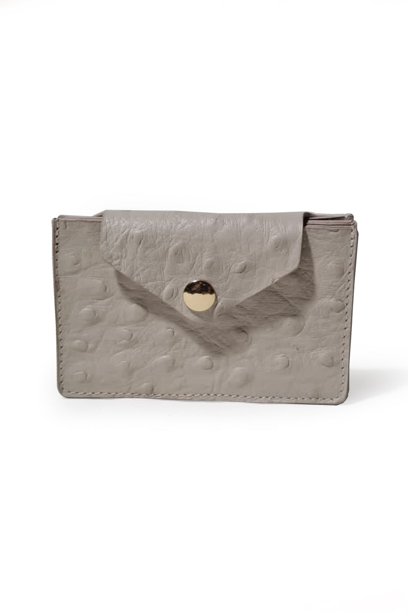 Leather Wallet -  White Ostrich Embossed