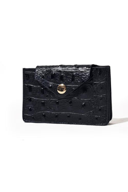 Leather Wallet -  Black Ostrich Embossed