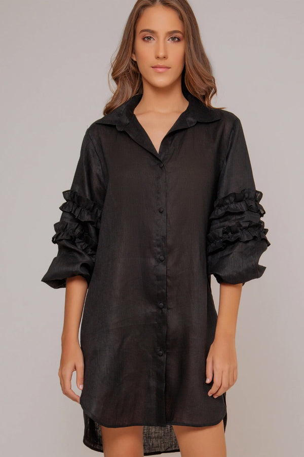 Passeios Shirt Dress - Black