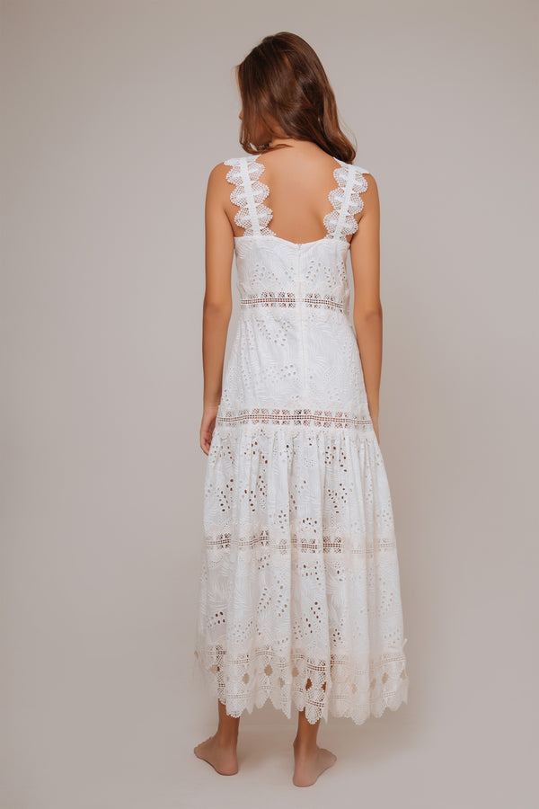 Sireneuse Cotton Embroidered Dress - White