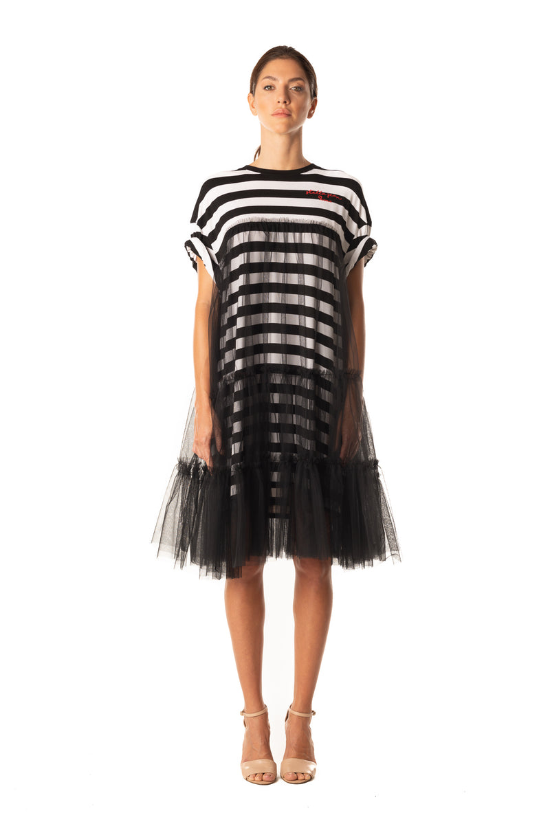 Tulle Dress With T-shirt - Striped