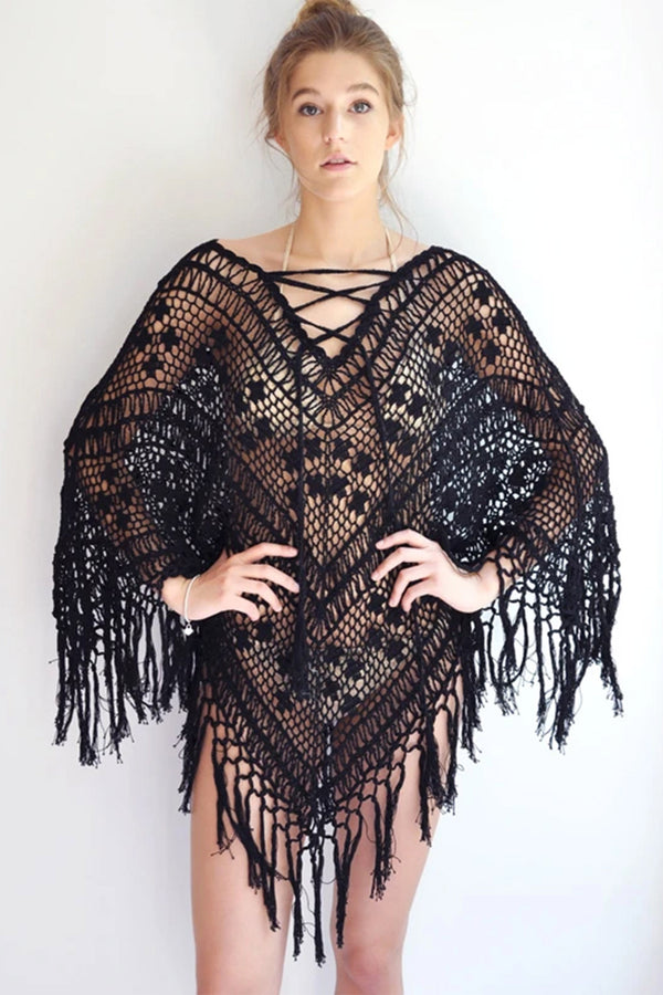 Summer Tassel Lace-Up Poncho - Black