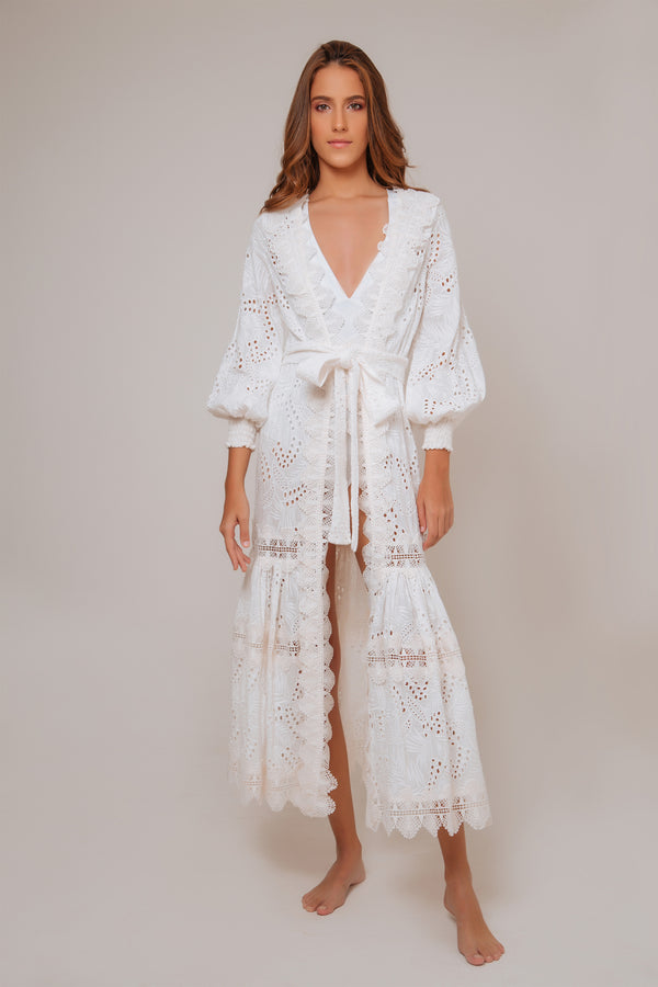 Vistamar Cotton Embroidered Kimono - White