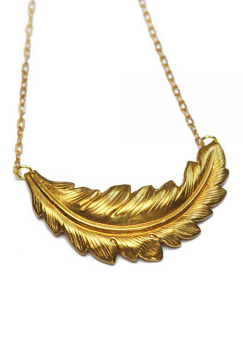 Feather Necklace - Golden