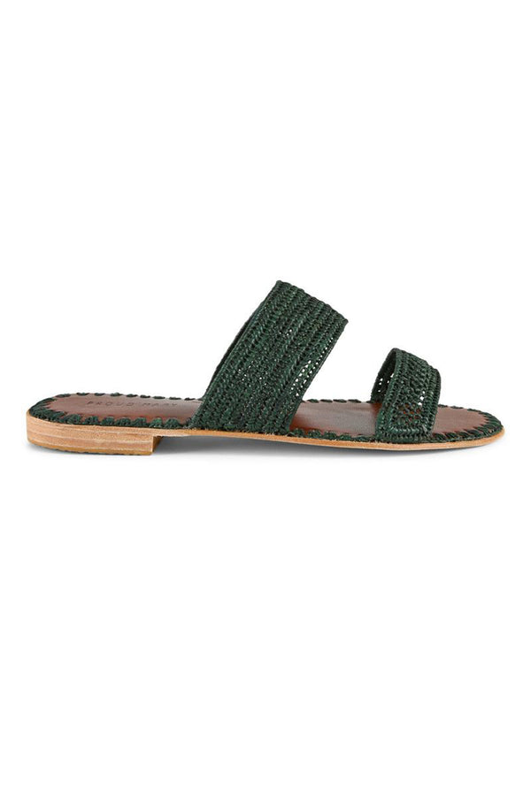 Raffia Two-Strap Slide - Forest