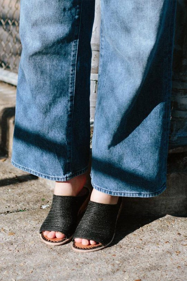 Open Toe Raffia Slide - Black