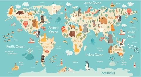 kids map, world map, fun kids mural, kids map, continents mural, world kids map mural,