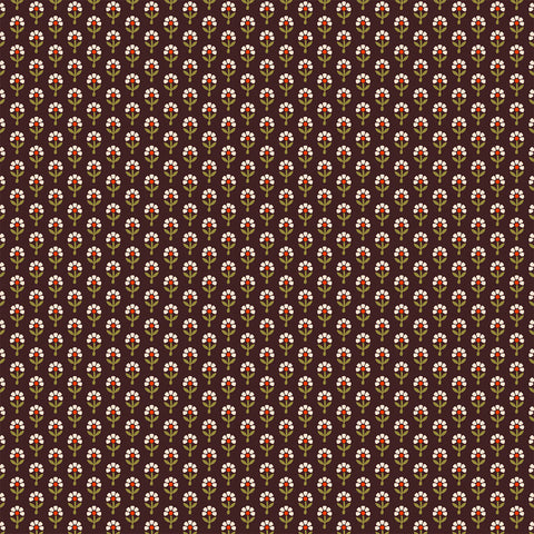 brown wallpaper, daisy, block print, flowers, mini prints, wallpaper,