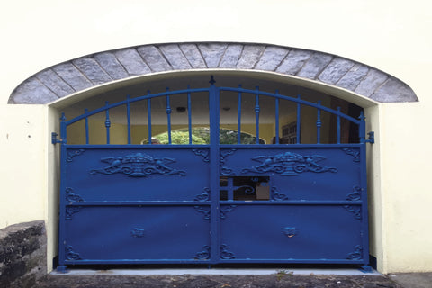 blue gates, irish gates, big blue gates, iron gates, blue iron gates, architecture, arch,