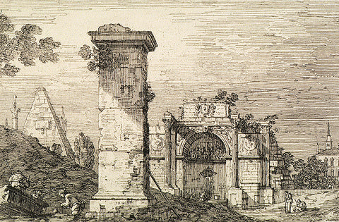 Canaletto, etching, AGO, black and white, drawing, ago images, vintage image, vintage etching, landscape, monuments,