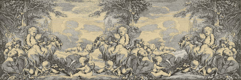 cherubs, romantic, classical, moody, etching, large murals, black and white cream,