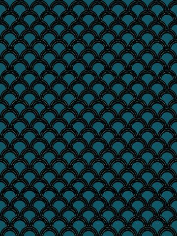 Como 3, blue, geometric, large scale retro design, scallop design, black, fun vintage, modern interior,