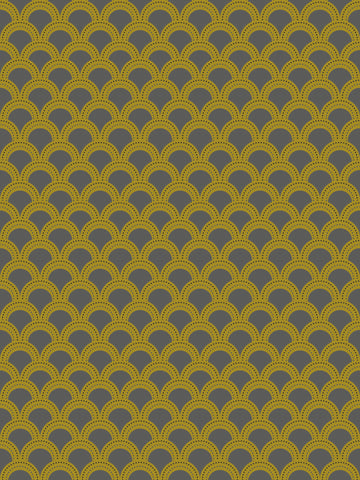 como 5, grey and mustard, yellow, green, large scale modern geometrics, modern vintage, scallop design,
