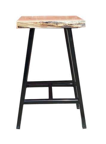 Live edge stool, corfu stool, metal stool with a wooden seat, wooden stool, cafe stool, outdoor stools, patio stools,