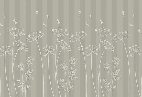 grey floral, tall grasses, grey stripe, wild flower mural, large floral mural, monotone floral, pretty meadow, pretty design, wallpaper,
