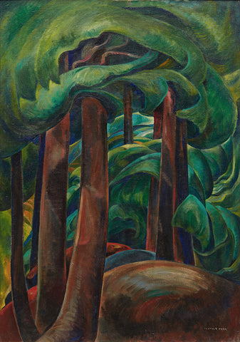 emily carr, trees, painting of trees, forest, tall trees, green famous artist, famous art, ago, ago images,