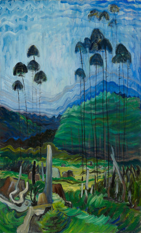 Trees in the sky, Emily Carr, blues, trees, famous painting, ago images, painting wall size,