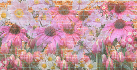 Floral, brick, modern floral, large scale floral, daisy, young, girls, teen girl, flowers,