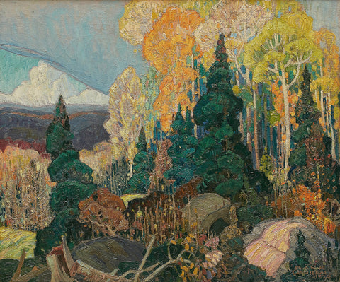 Franklin Carmichael Autumn Hillside, famous painting, ago images, vintage images, painting mural, ago archive, trees, forests,