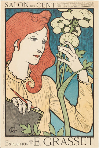 E. Grasset, poster, 1930s poster, art, art poster, women, women in art, flowers, posters from the ago,