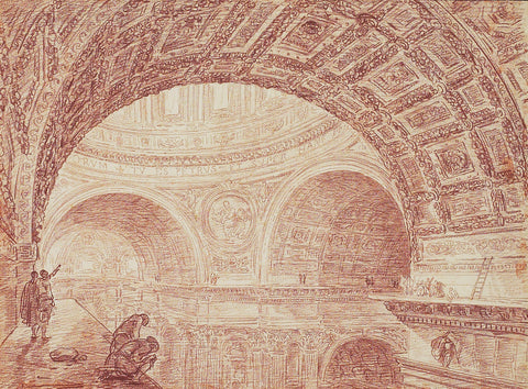 Hubert Robert, drawing mural, sketch, architectural drawing, pink wall, pink mural, ago images, ago archive,