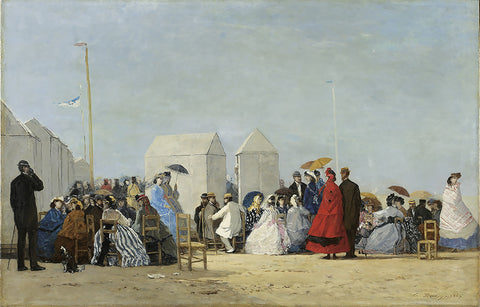 french painting, La plage, the beach, people on the beach 1864, famous painting, sky, stylish,