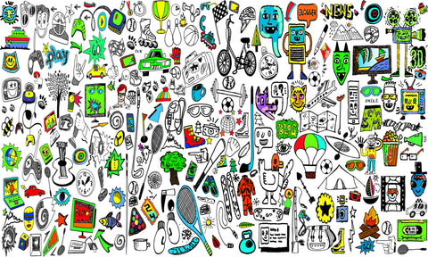 doodle, doodle wallpaper, fun, fun wallpaper, doodle cartoon, cartoon mural, cartoon wallpaper, sports, teenagers, teen bedroom, kids playroom,