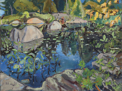 Lily Pond, Arther Lismer, pianting, famous painting, painting mural, ago, ago archive,