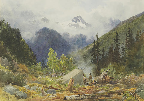 A Prospector's Camp 1887, Lucius Richard O'Brian, North American Indian, Indain camp, Landscapes,