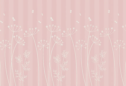pink strip, baby's room, pink stripe, pink floral stripe, tall grasses in pink, pink and white,